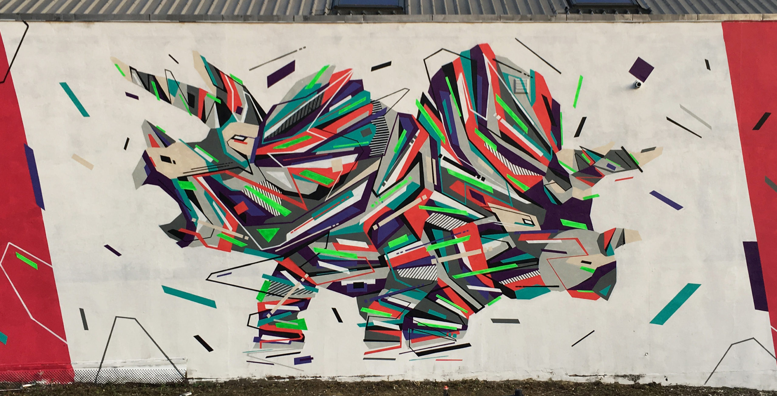Fresque Graffaune Graffiti tricératops réalisée par Daco
