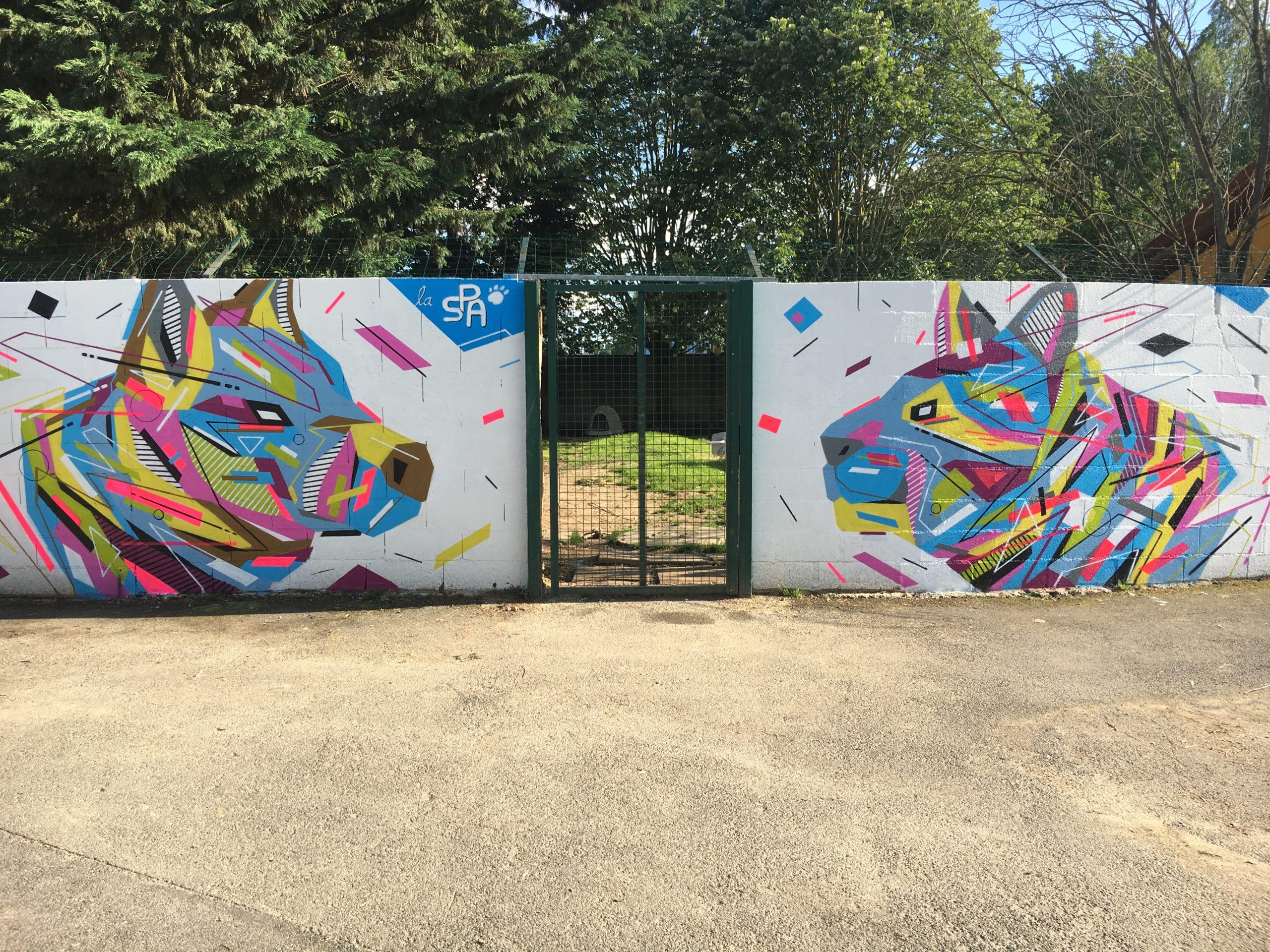 Fresque Graffaune Graffiti chien et chat réalisée par Daco