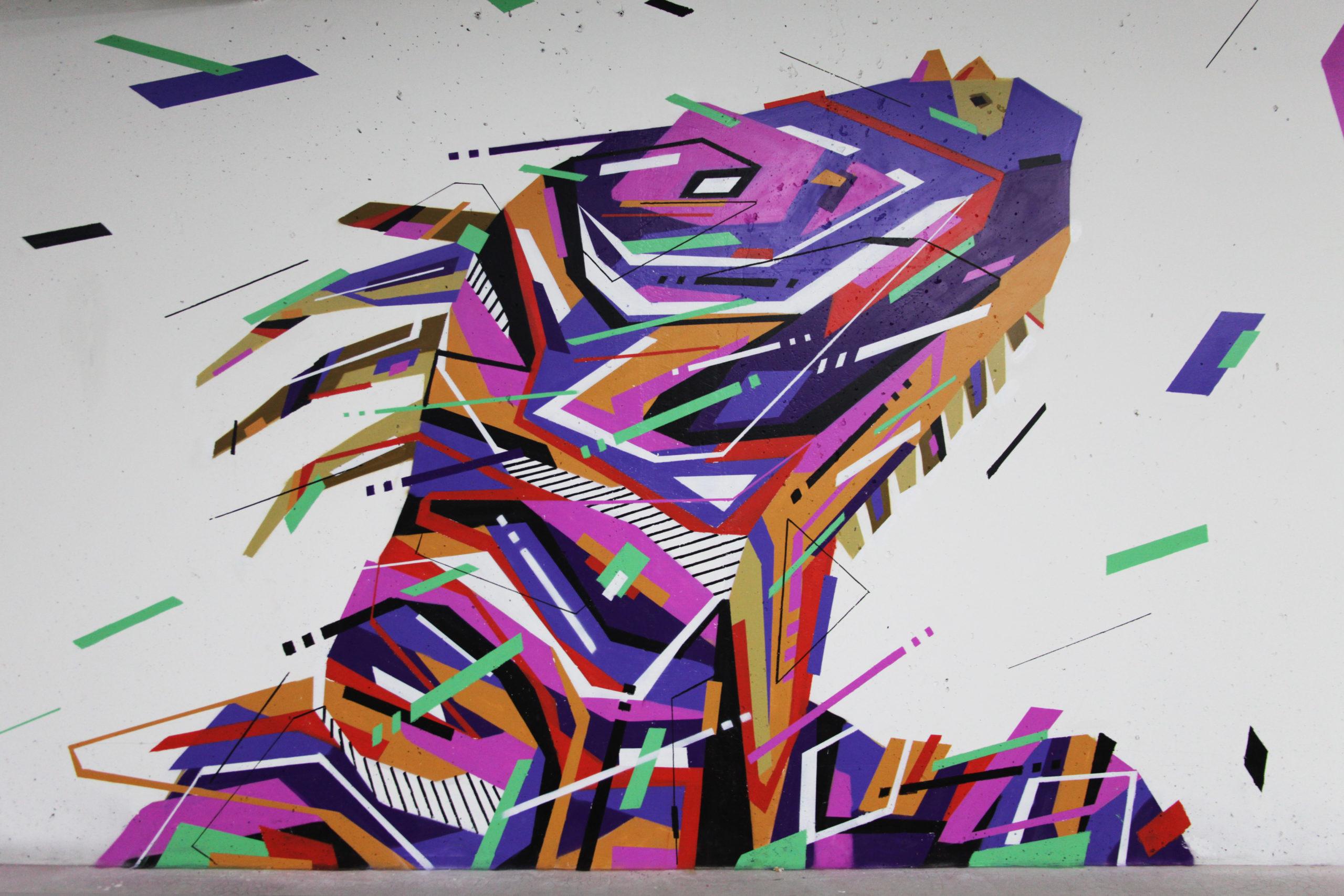 Fresque Graffaune Graffiti iguane réalisée par Daco