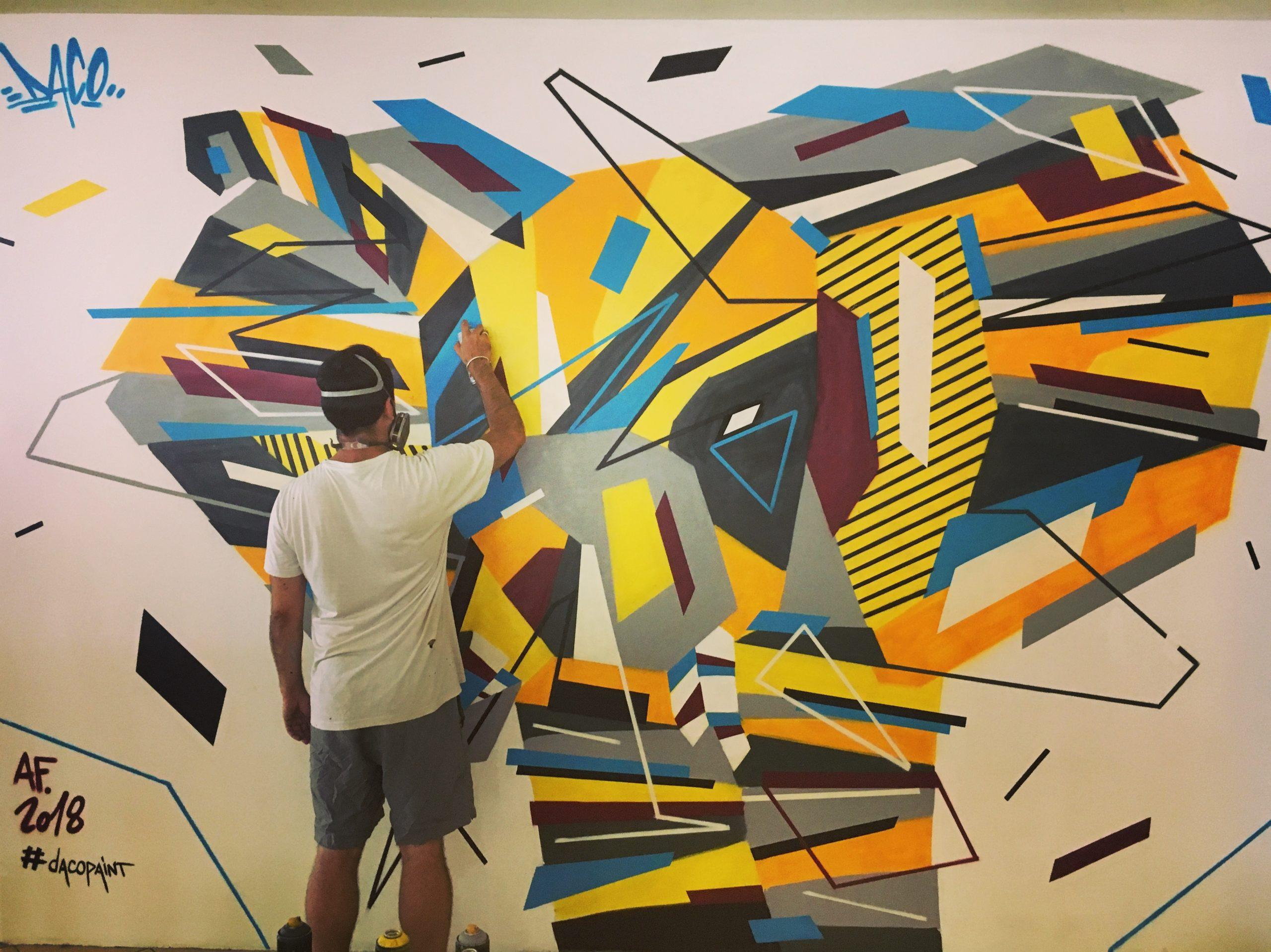 Fresque Graffaune Graffiti éléphant réalisée par Daco