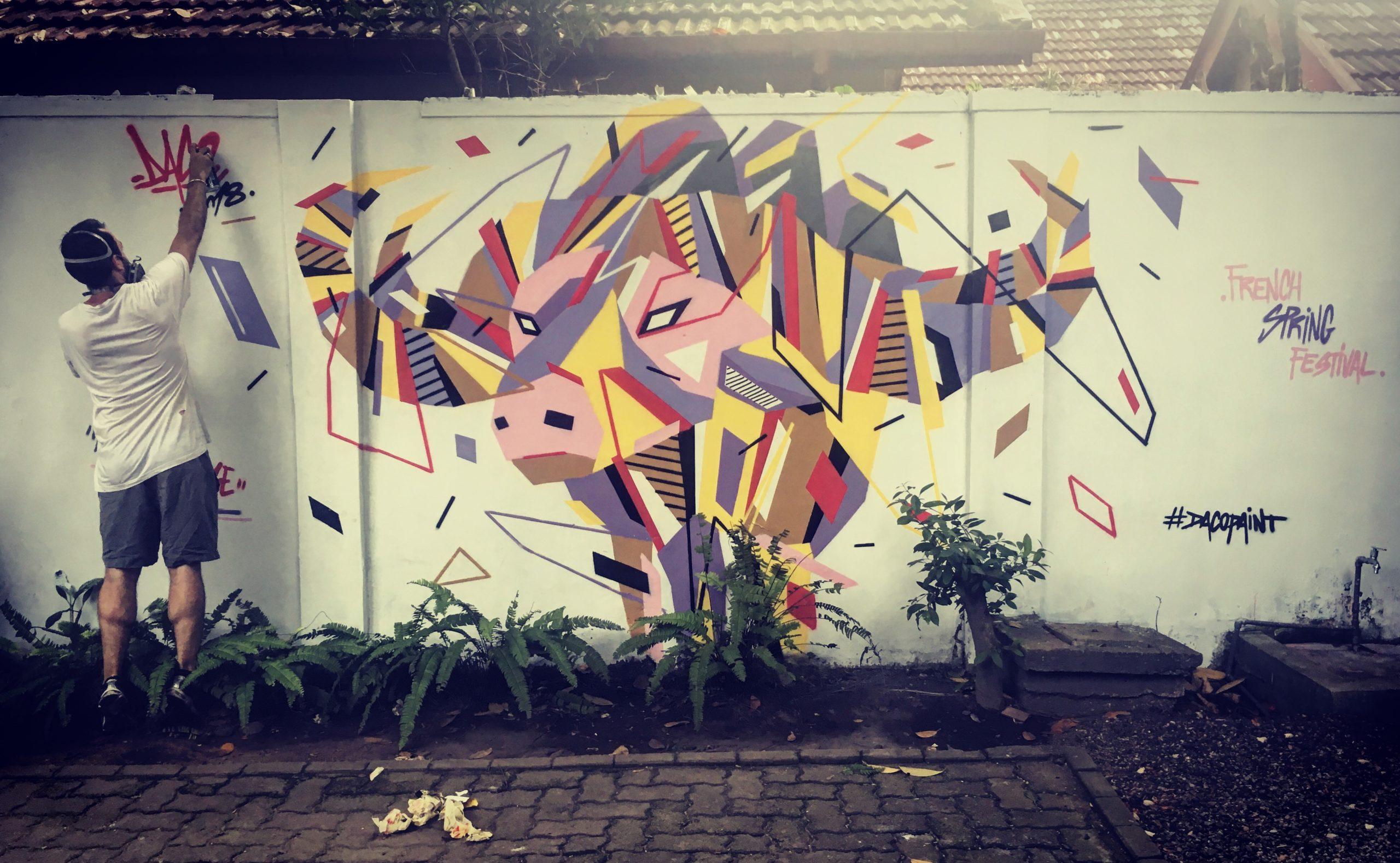 Fresque Graffaune Graffiti buffle réalisée par Daco