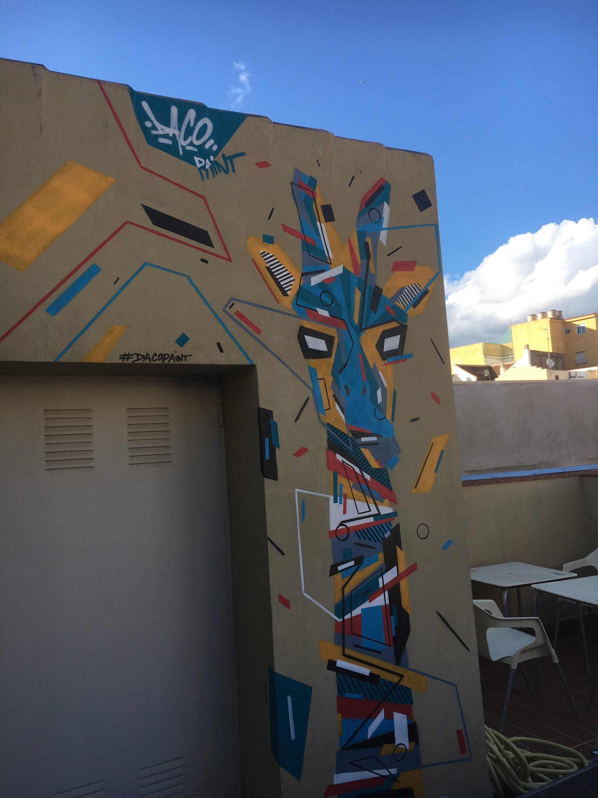 Fresque Graffaune Graffiti girafe réalisée par Daco
