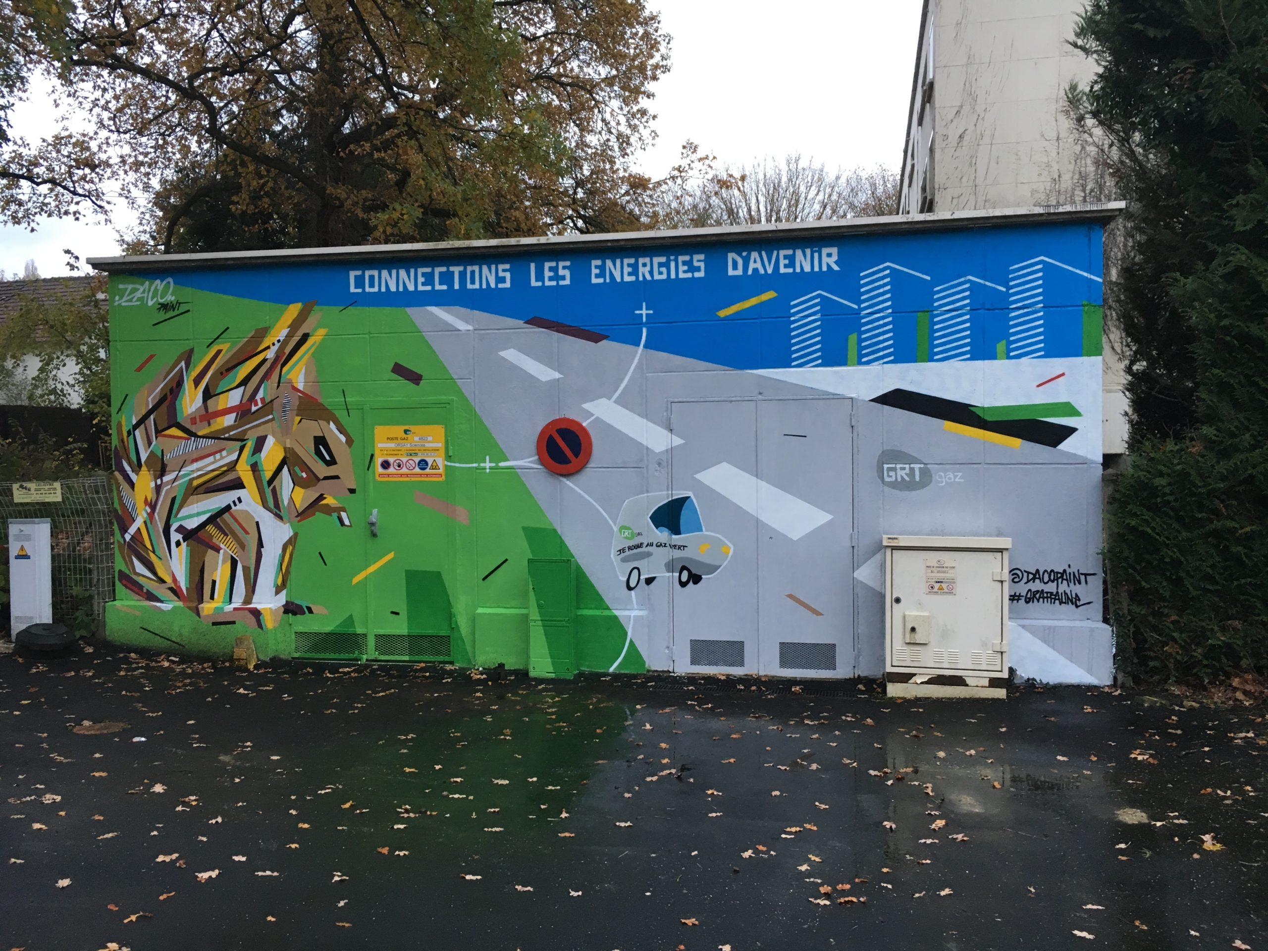 Fresque Graffaune Graffiti écureuil réalisée par Daco