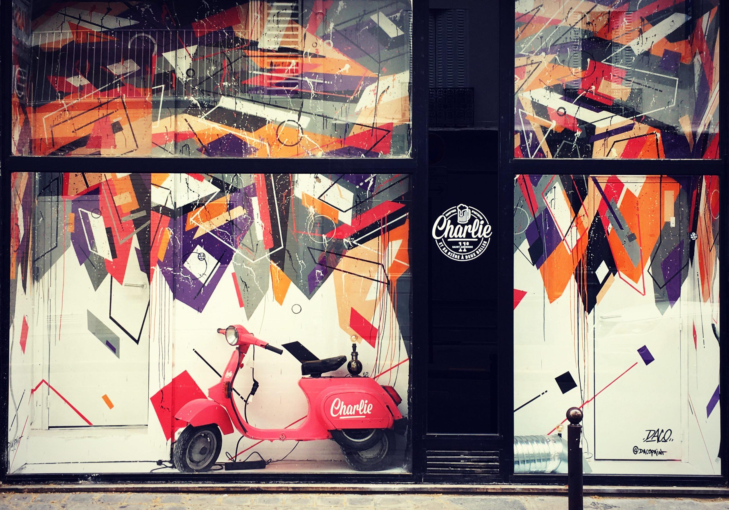 Fresque Graffiti construction abstraite réalisée par Daco