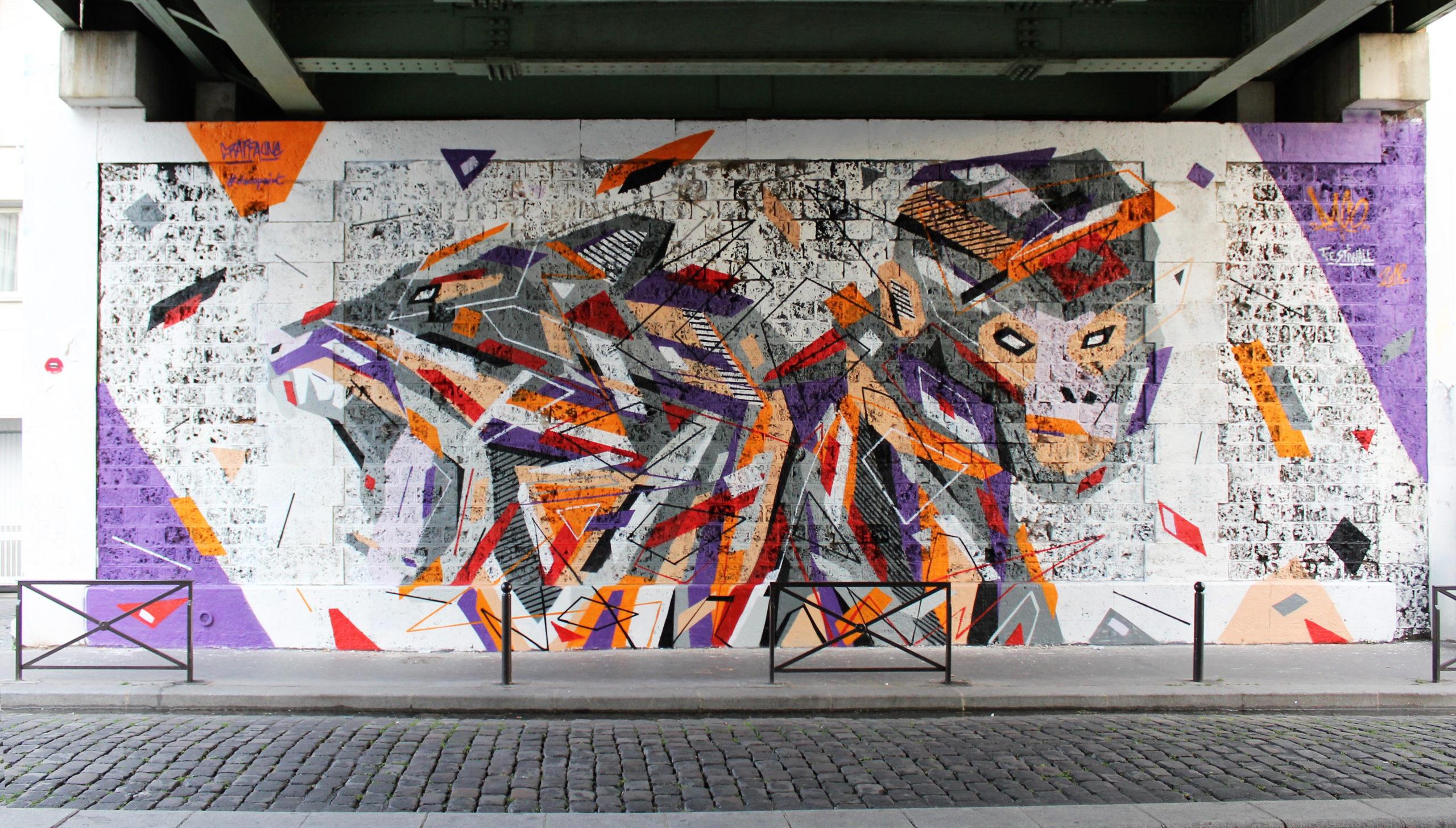 Fresque Graffaune Graffiti tigre et singe réalisée par Daco