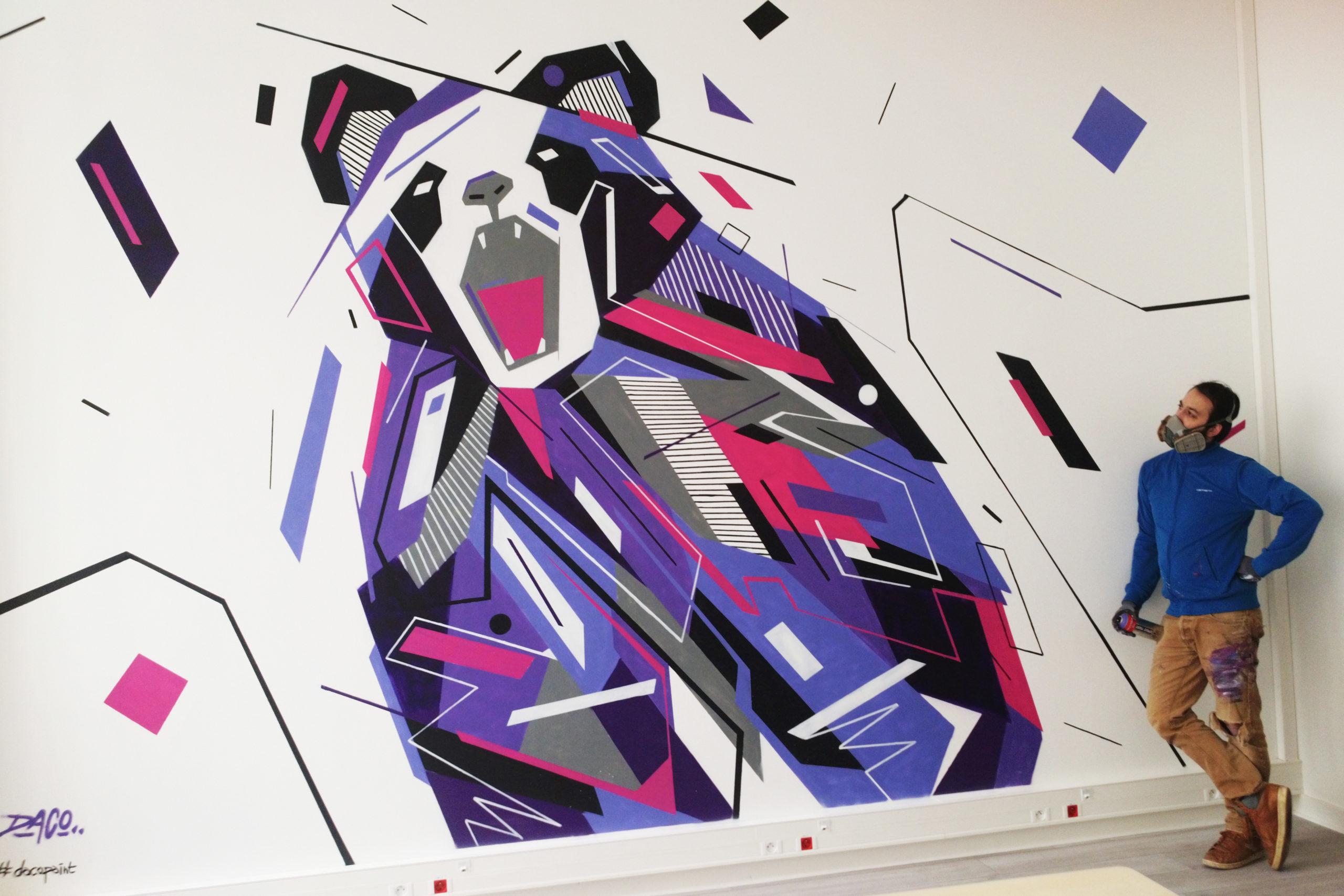 Fresque Graffaune Graffiti panda réalisée par Daco
