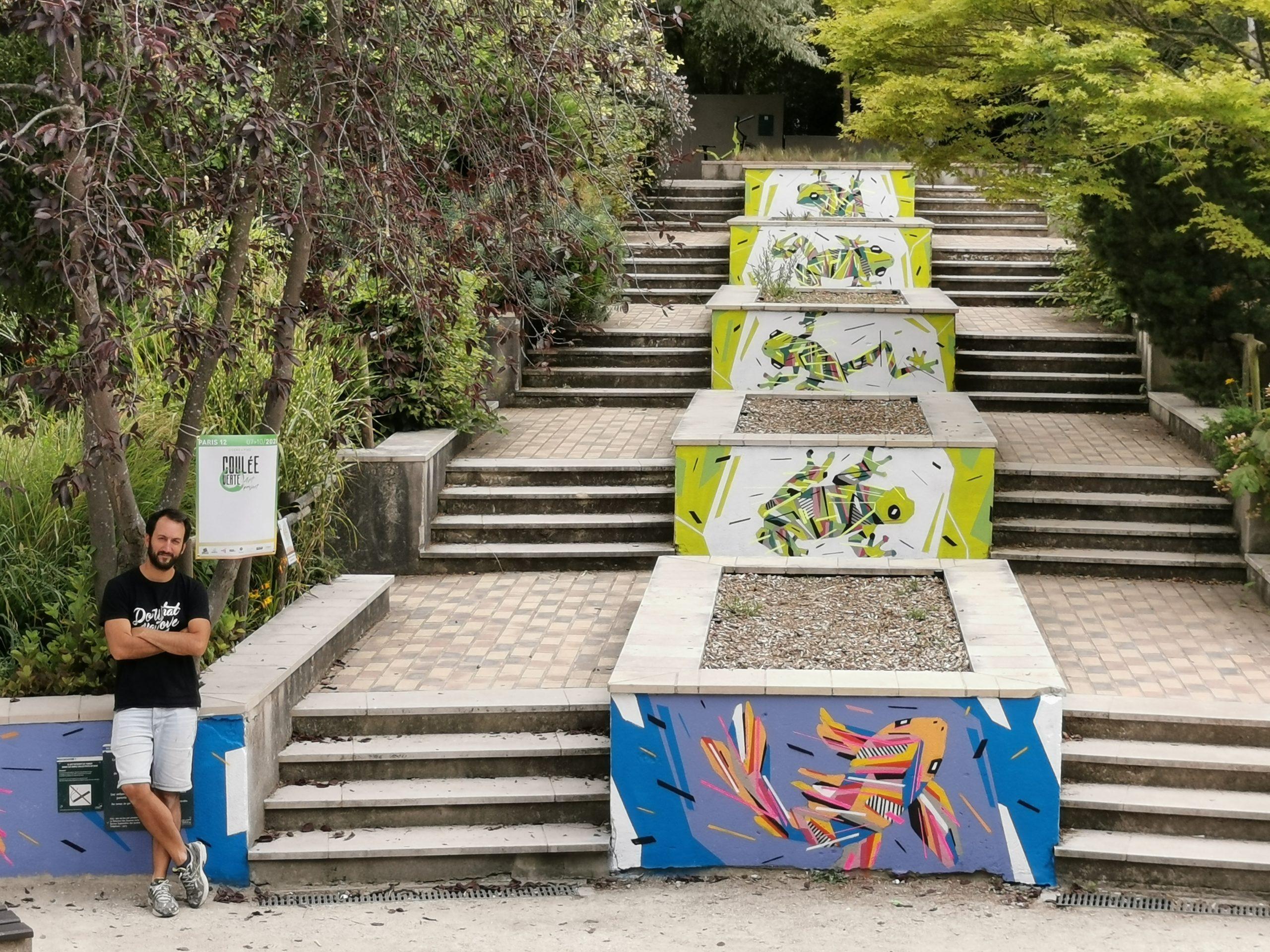 Fresque Graffaune Graffiti poissons et batraciens réalisée par Daco