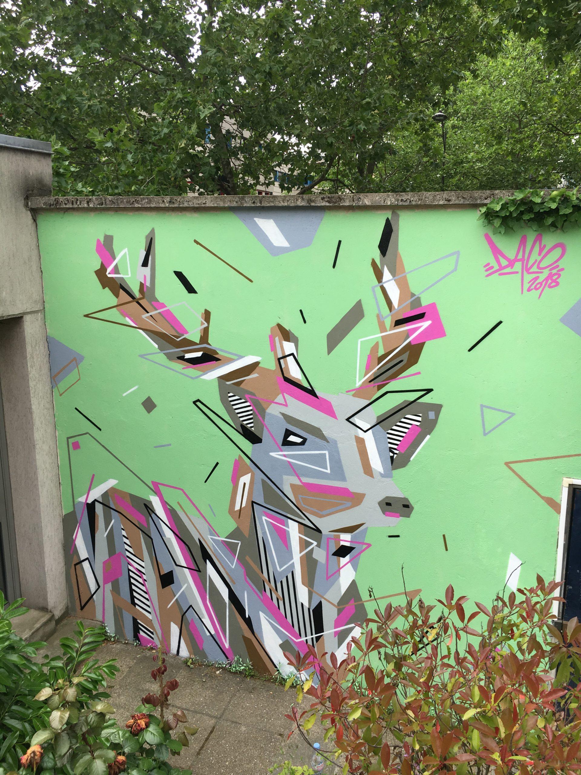Fresque Graffaune Graffiti faon réalisée par Daco