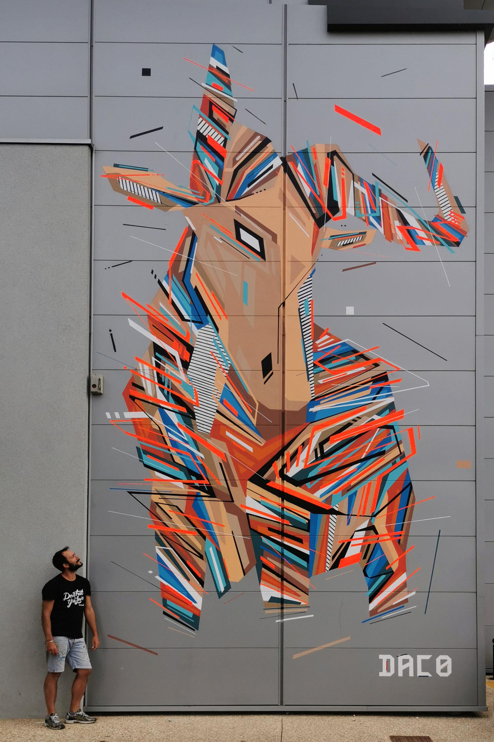 Fresque Graffaune Graffiti gnou réalisée par Daco